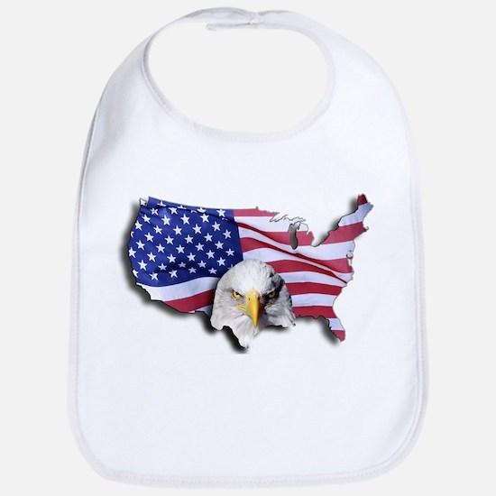 Bald Eagle Over American Flag Bib