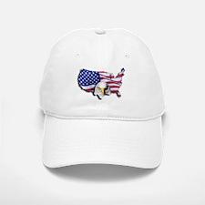 Bald Eagle Over American Flag Baseball Baseball Cap