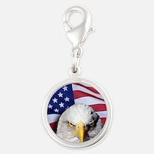 Bald Eagle Over American Flag Charms