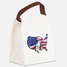 Bald Eagle Over American Flag Canvas Lunch Bag