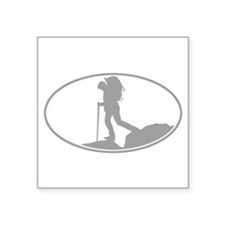 """Cute Hiking Square Sticker 3"""" x 3"""""""