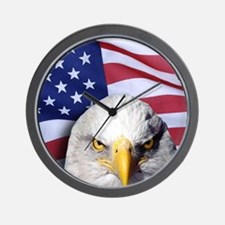 Bald Eagle Over American Flag Wall Clock