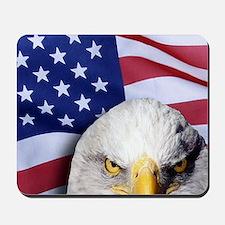 Bald Eagle Over American Flag Mousepad