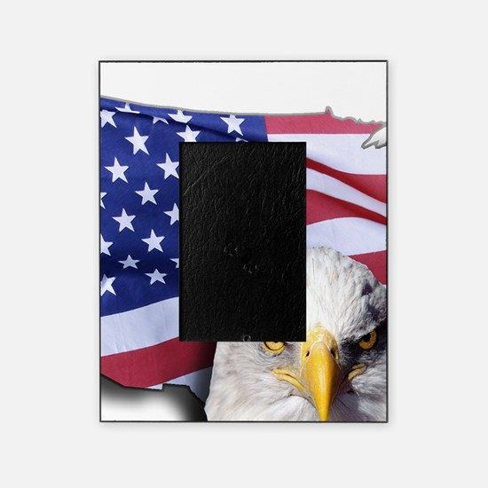 Bald Eagle Over American Flag Picture Frame
