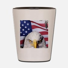 Bald Eagle Over American Flag Shot Glass