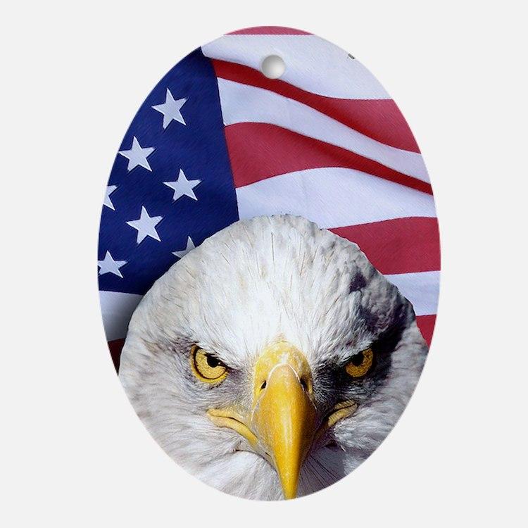 Bald Eagle Over American Flag Oval Ornament
