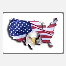 Bald Eagle Over American Flag Banner