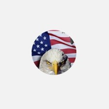 Bald Eagle Over American Flag Mini Button