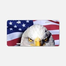 Bald Eagle Over American Fl Aluminum License Plate