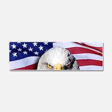 Bald Eagle Over American Flag Car Magnet 10 x 3