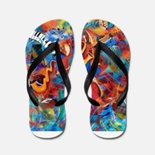 Musician Band Colorful Abstract Jazz Tr Flip Flops