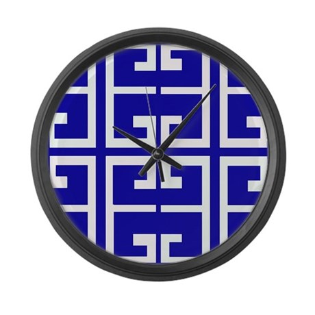 Blue And White Tile Large Wall Clock By Crazycheckerboards