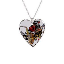 Red Hot Jazz Music Piano Sax Necklace