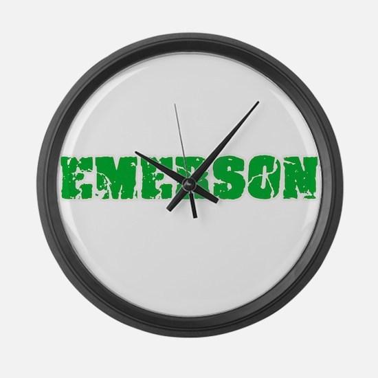 Emerson Name Weathered Green Desi Large Wall Clock