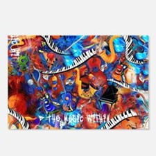 Juleez Music Theme Art De Postcards (Package of 8)
