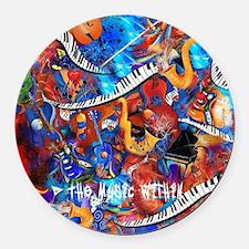 Juleez Music Theme Art Decor Musi Round Car Magnet