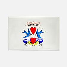 Knitter - Tattoo Art Swallows Rectangle Magnet