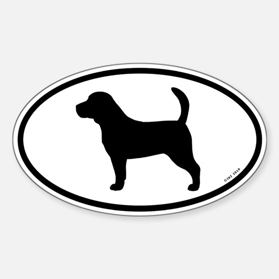 Beagle Silhouette Oval Decal