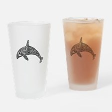Tribal Orca Black Drinking Glass