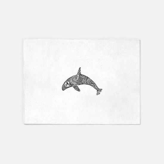 Tribal Orca Black 5'x7'Area Rug