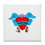 Knitter - Tattoo Heart with B Tile Coaster