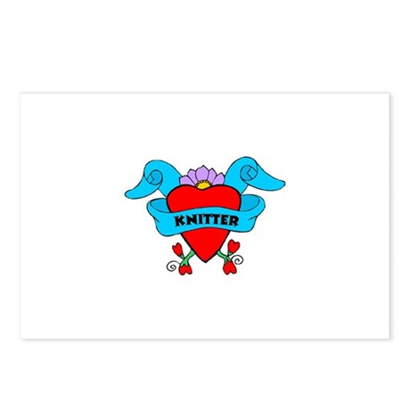 Knitter - Tattoo Heart with B Postcards (Package o