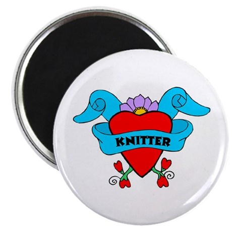 "Knitter - Tattoo Heart with B 2.25"" Magnet (10 pac"