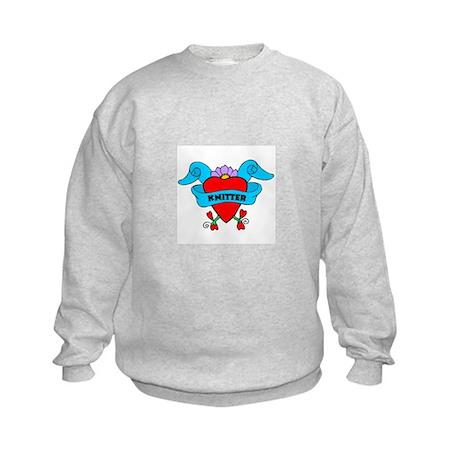 Knitter - Tattoo Heart with B Kids Sweatshirt