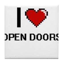 I Love Open Doors Tile Coaster