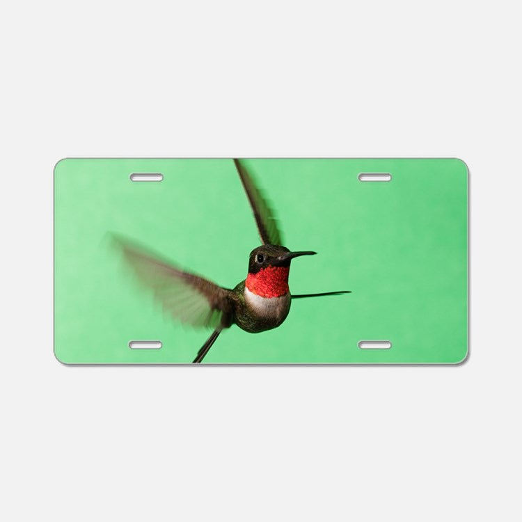 Ruby-Throated Hummingbird Aluminum License Plate
