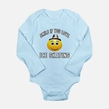 Ice Skating Smiley Spo Long Sleeve Infant Bodysuit