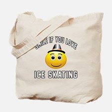 Ice Skating Smiley Sports Designs Tote Bag