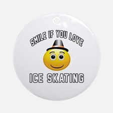 Ice Skating Smiley Sports Designs Round Ornament
