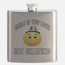 Ice Skating Smiley Sports Designs Flask