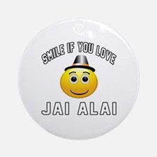 Jai Alai Smiley Sports Designs Round Ornament