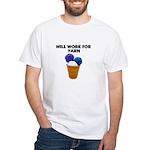 Will Work for Yarn White T-Shirt