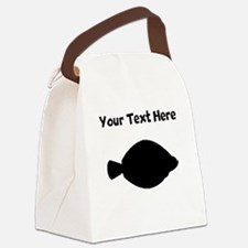 Flounder Fish Silhouette Canvas Lunch Bag