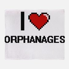 I Love Orphanages Throw Blanket