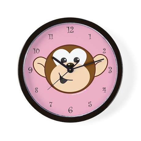 Monkey C Head Pink Wall Clock