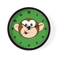 Monkey C Head Green Wall Clock