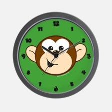 Monkey C Head Green Wall Clock