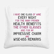 Glass of Wine a Night Square Canvas Pillow