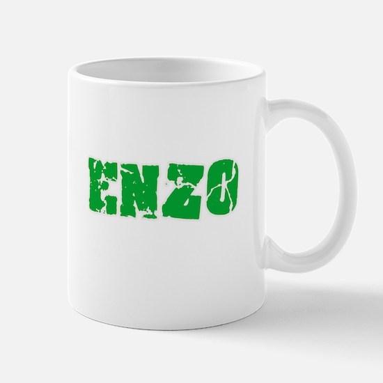 Enzo Name Weathered Green Design Mugs
