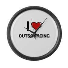 I Love Outsourcing Large Wall Clock