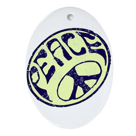 Vintage Peace Symbol #V8 Oval Ornament