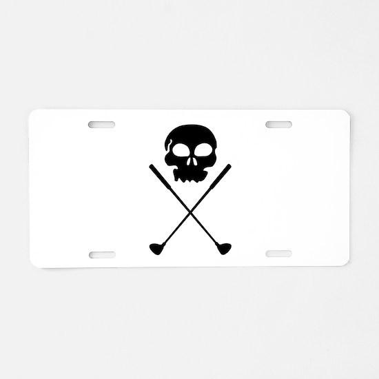 Golf Skull Crossed Clubs Aluminum License Plate