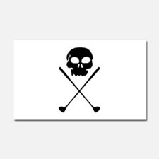 Golf Skull Crossed Clubs Car Magnet 20 x 12