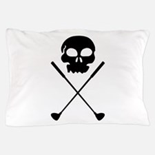 Golf Skull Crossed Clubs Pillow Case