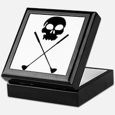 Golf Skull Crossed Clubs Keepsake Box