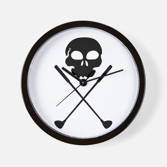 Golf Skull Crossed Clubs Wall Clock